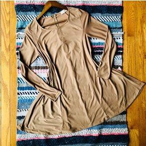 Altar'd State Tan Long Sleeve Zipper Back Dress M